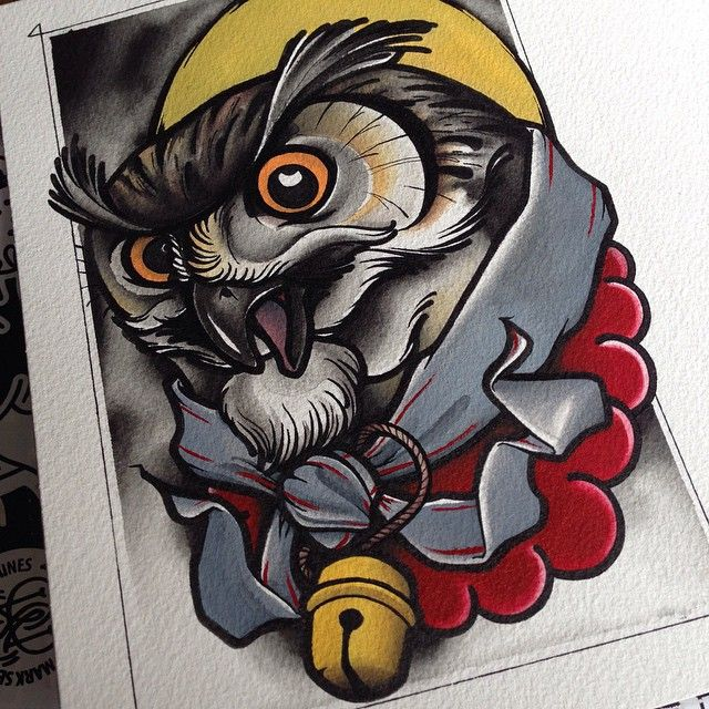 Evil Chameleon Tattoo: #traditional #tattoo #owl