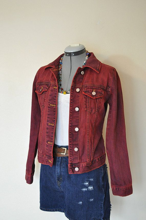 613c4a907bc Red XS Denim JACKET - Scarlet Red Hand Dyed Upcycled Gap Jeans Denim ...