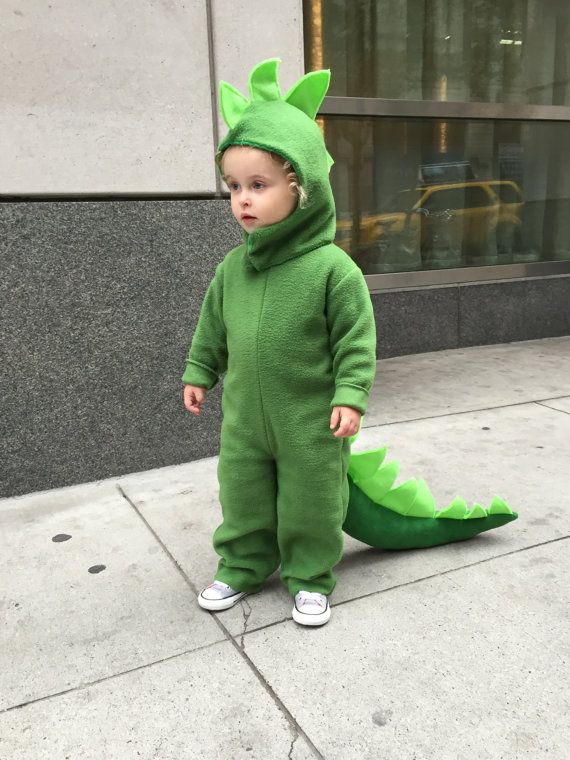 dinosaur halloween costume green dino kids costume full suit with long tail spines and hood for boys girls toddler children - Halloween Costumes For A 2 Year Old Boy