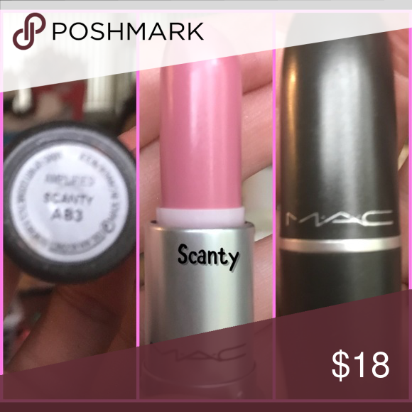 MAC COSMETICS DISCONTINUED Lipstick in SCANTY! The perfect soft neutral pink for all seasons! Full tube, swatched once on paper. Makeup Lipstick