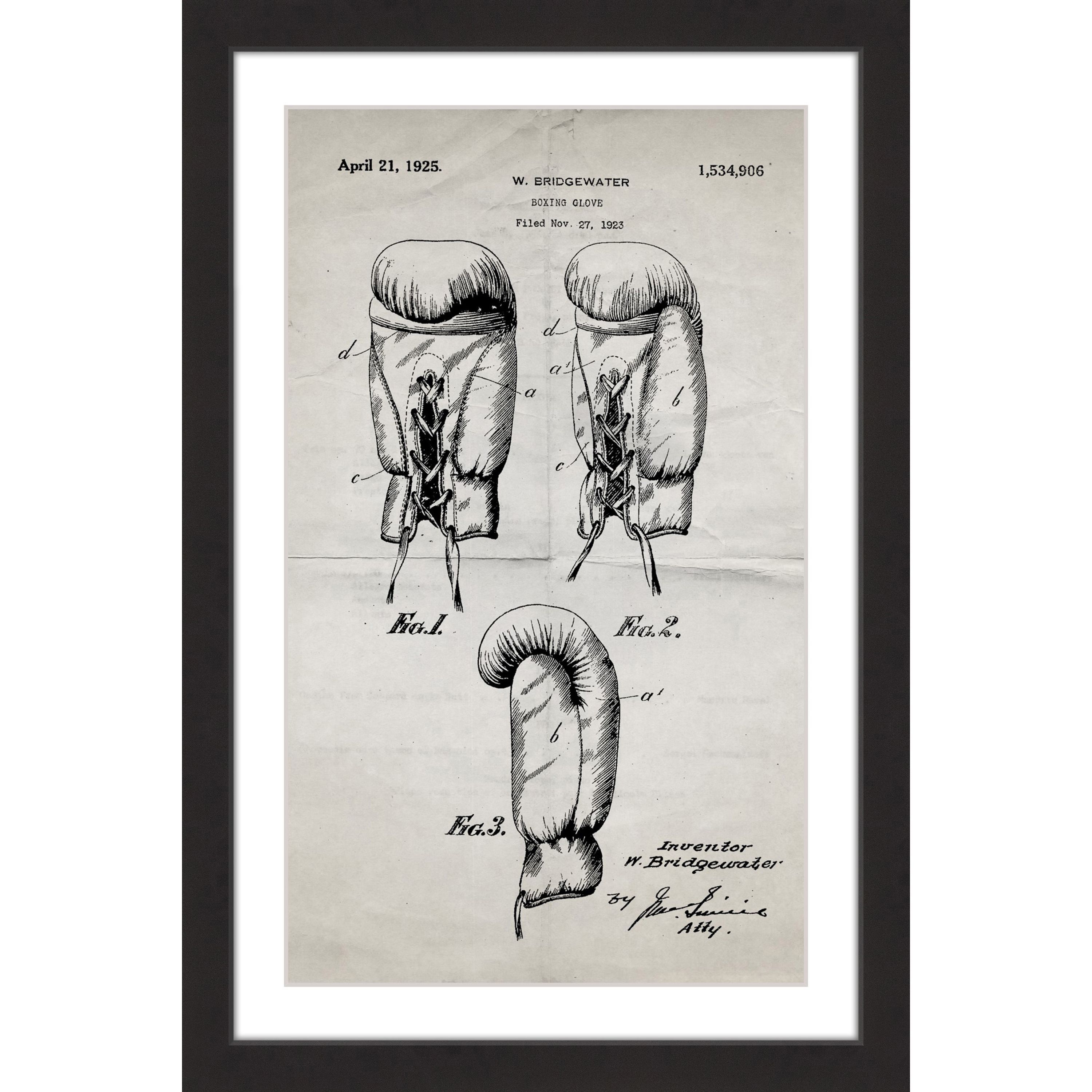 Marmont Hill - \'Boxing Gloves 1923 Old Paper\' by Steve King Framed ...