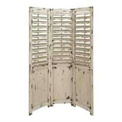 Solid Wood Distressed White Wash Decorative Folding Screen
