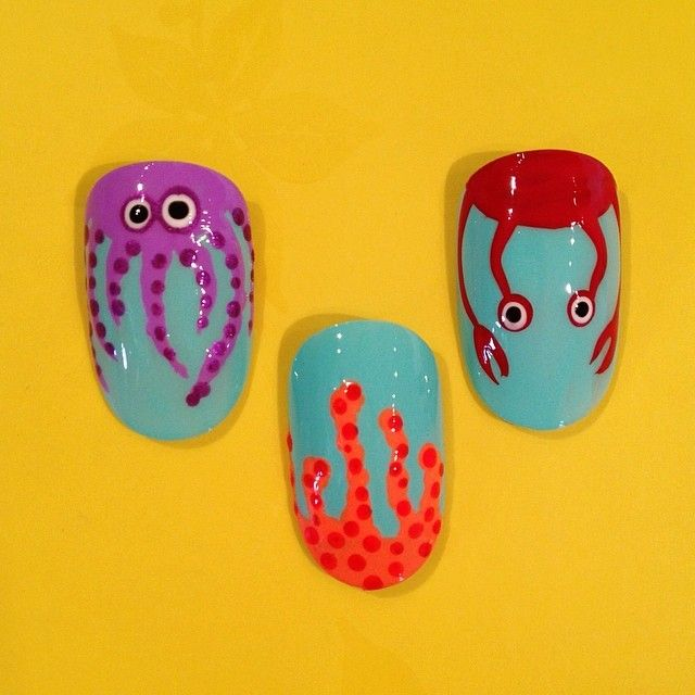 Nails Y\'all Beach Party: under da sea. What\'s hiding in that coral ...