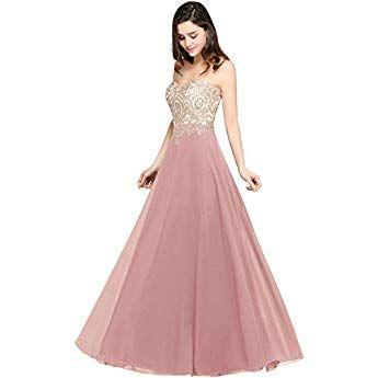 misshow damen elegant abendkleider lang chiffon ballkleider abschlusskleider abiballkleider rosa