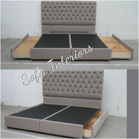 Tufted headboard with custom made bed frame with pullout drawers ...