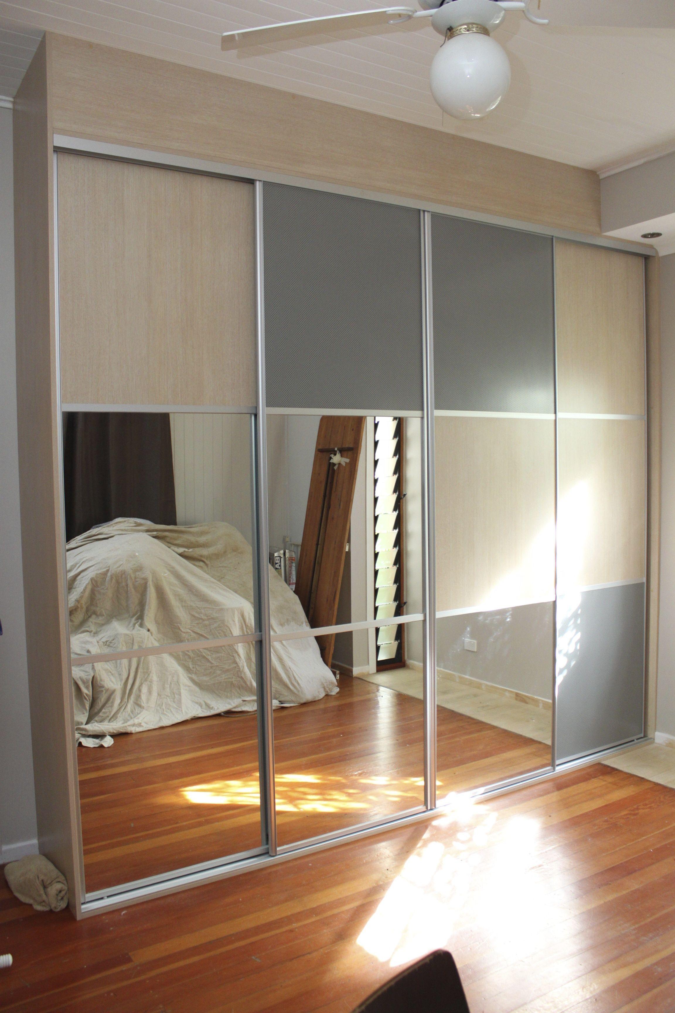Your home improvements refference mirrored closet doors - Composite Sliding Doors Using Mirror Melamine And Mesh