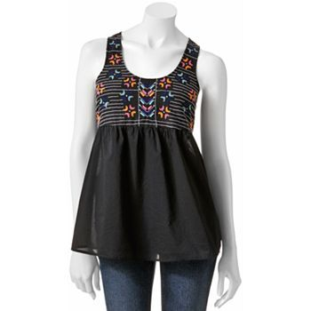 Mudd embroidered open back tank (Kohls)