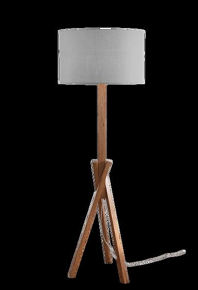 Coluna com base em freijó maciço.  Cúpula de linho ou algodãoBase  Altura - 160 cm Cúpula - 48 cm x h 28 cm
