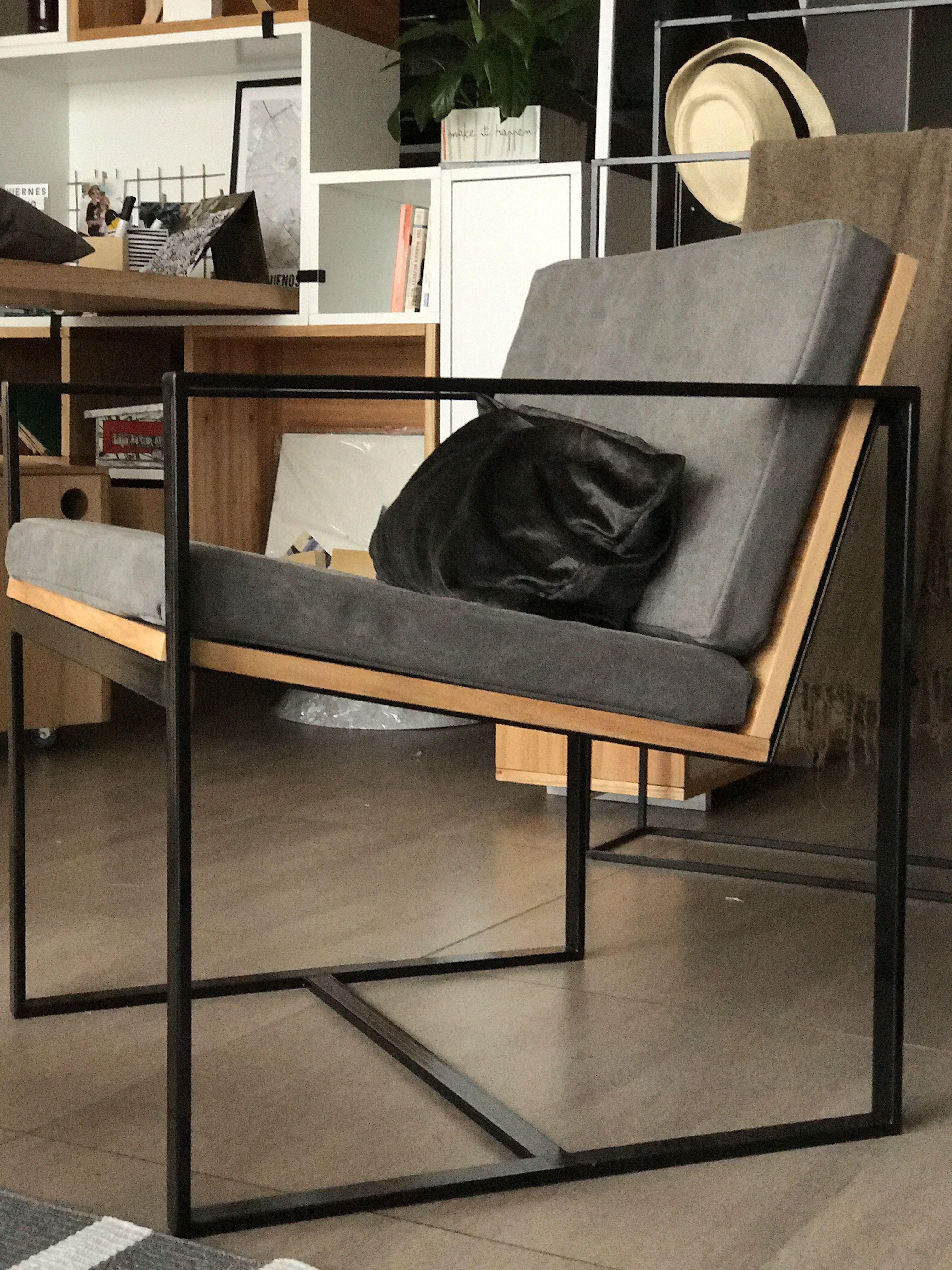 Sillon hierro y madera individual moderno minimalista for Muebles industriales metal baratos