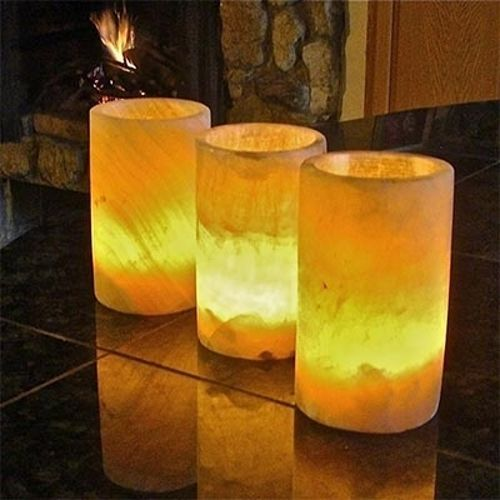 "Flameless Candles With Remote Costco Nice Mood Lighting Egyptian Alabaster Votive 5"" Bistro  Set Of"