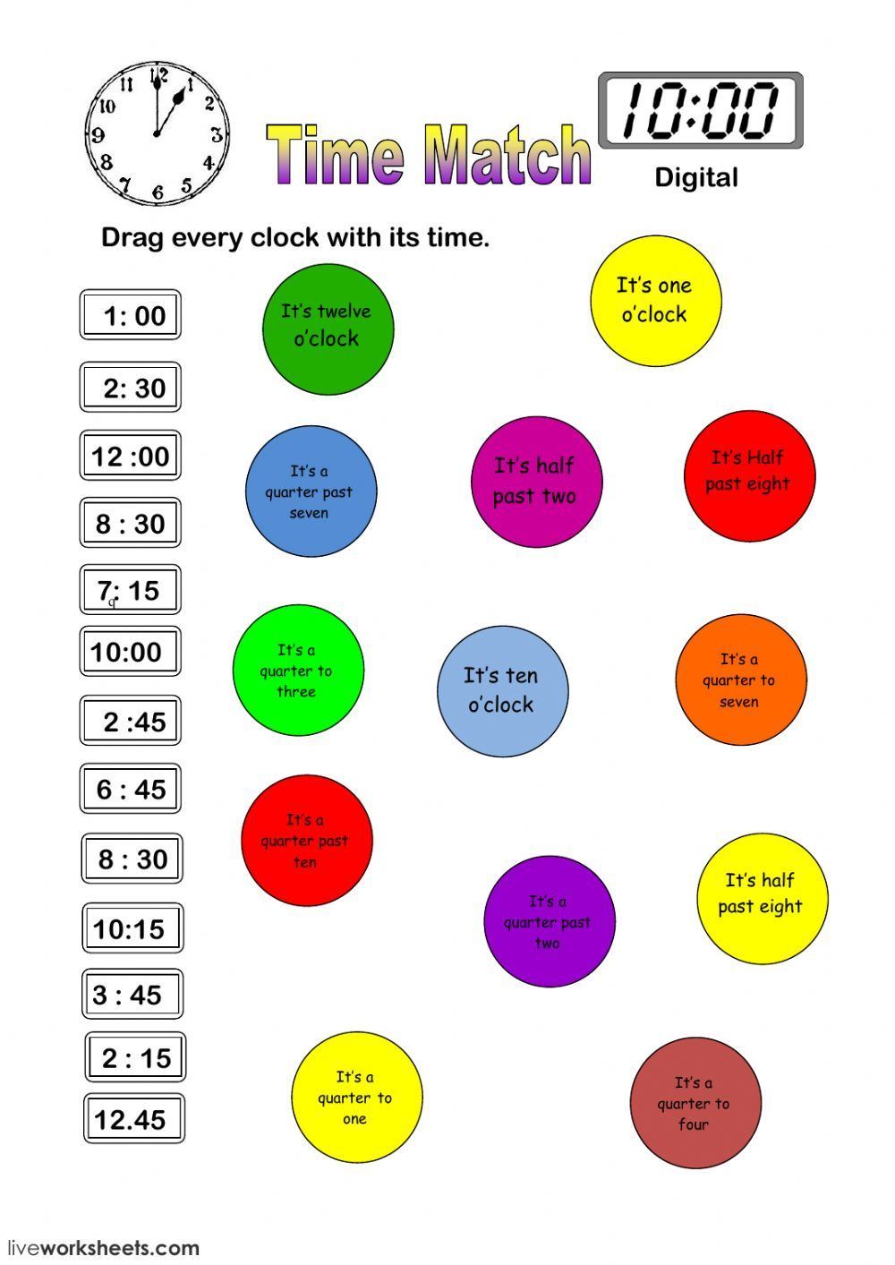 Telling the time online worksheet. You can do the exercises online or  download the worksheet as pdf.   Time worksheets [ 1413 x 1000 Pixel ]