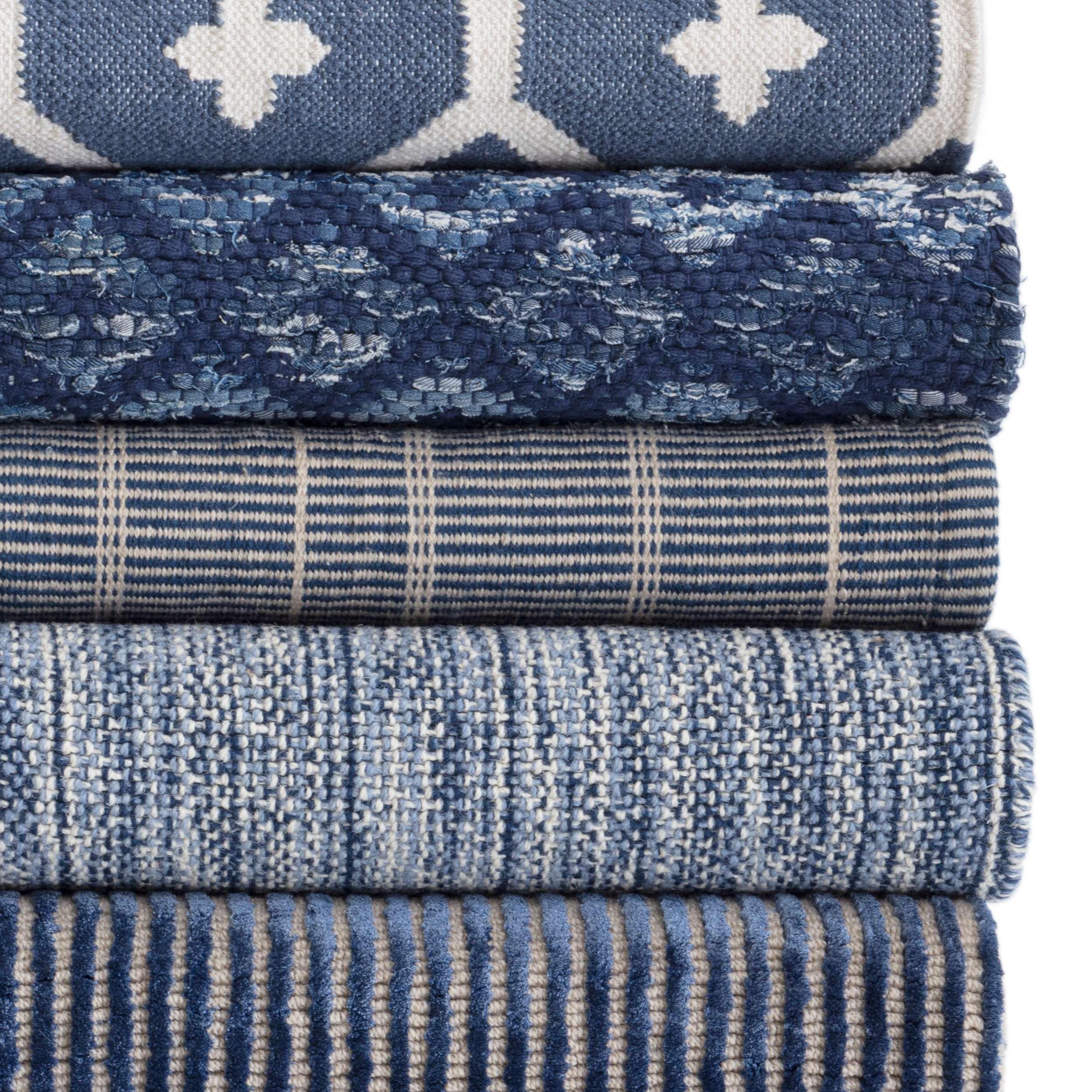 Denim Rag Diamond Indigo Woven Cotton Rug Dash Albert Cotton Rug Denim Rag Rugs Cotton Weaving