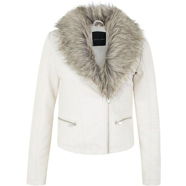 Cream Leather-Look Faux Fur Collar Biker Jacket found on Polyvore ...