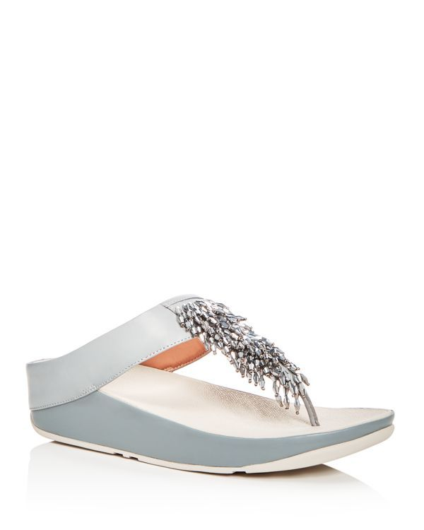 597d5527db93db FitFlop Women s Rumba Leather Embellished Wedge Thong Sandals