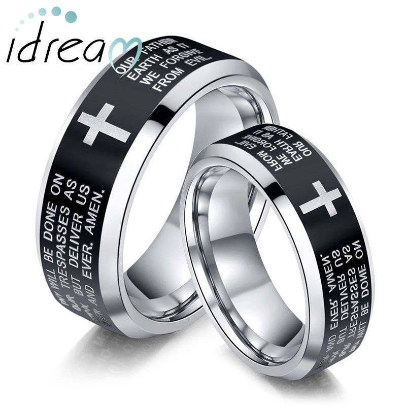 Holy Bible And Cross Laser Engraved Tungsten Wedding Bands
