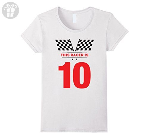 Womens Kids 10th Birthday Racing Gift T Shirt For 10 Year Old Boys Large White