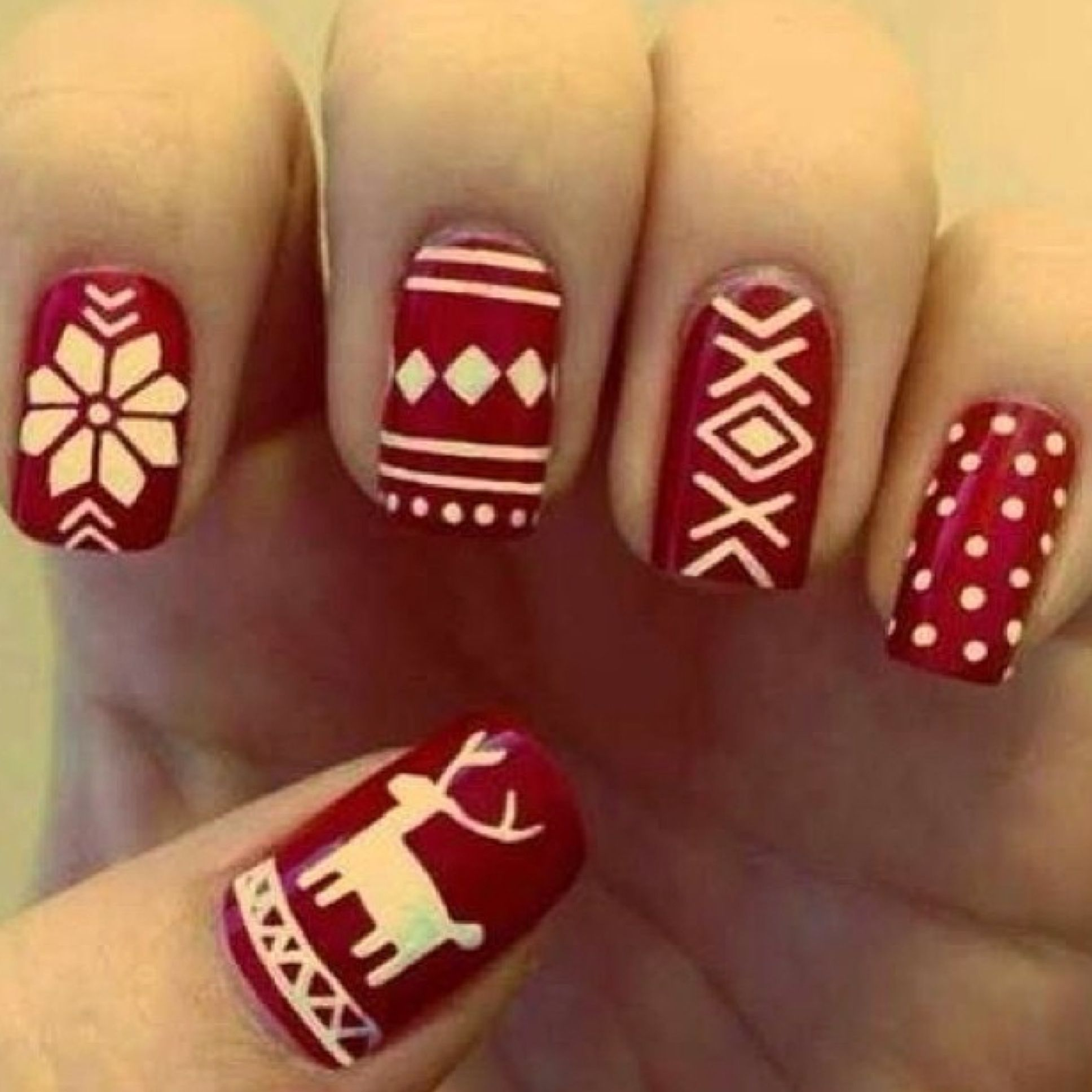 I am not ready for Christmas but these nails just slay me ...