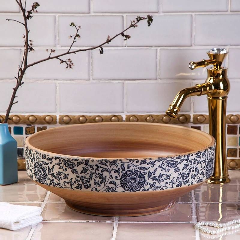 Europe Style Handmade Countertop Basin Bathroom Sink Ceramic Wash Basin Brown Countertop Basin Bathroom Countertop Basin Bathroom Sink Bowls