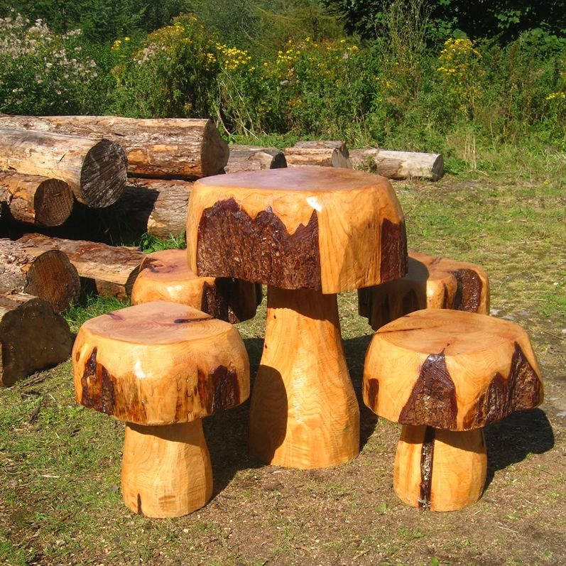 Garden furniture table chairs solid timber wood