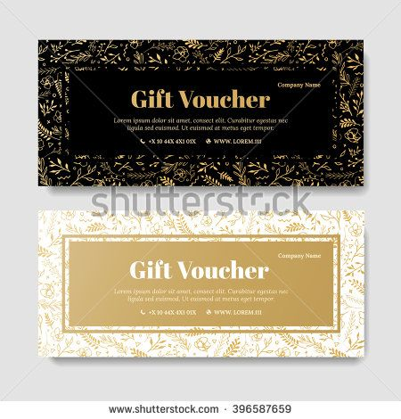 Gift premium voucher, coupon template. Golden Flower, Template for ...