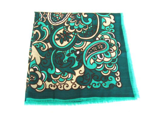 HAND-PRINTED-PAISLEY-CHALLIS-WOOL-FRINGED-SCARF-GREEN-TEAL-WHITE-FAB