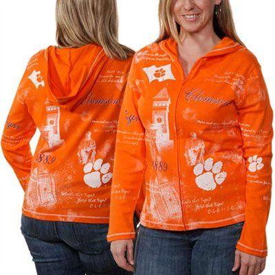 Clemson Tigers Ladies School Spirit Fashion Full Zip Hoodie Sweatshirt - Orange