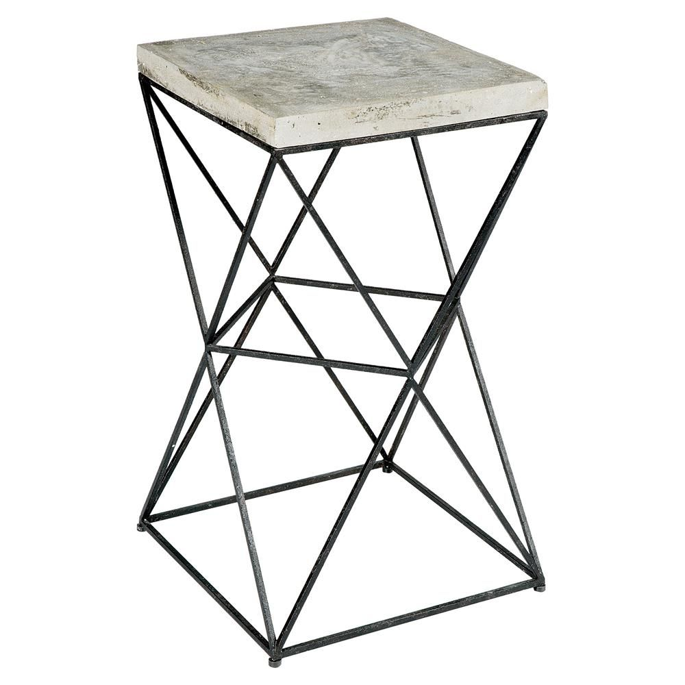 Ridge Industrial Loft Black Metal Concrete End Table Metals Home - Industrial concrete side table