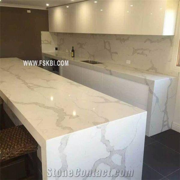 Affordable Brand Name Quality Calacatta Quartz Stone Compete With Caesarstone Quartz Kitchen Countertops Kitchen Countertops Outdoor Kitchen Countertops