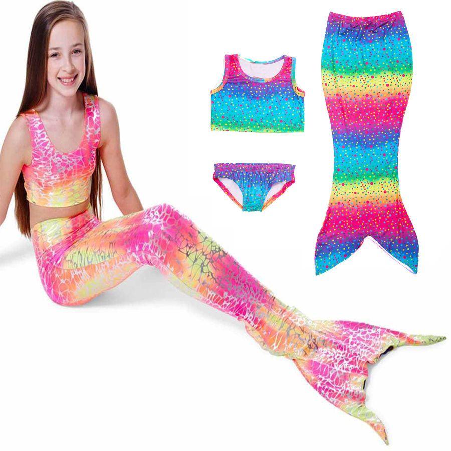 Toddler Kids Girls Mermaid Tail Sea-maid Bikini Swimwear Beachwear Costume Set
