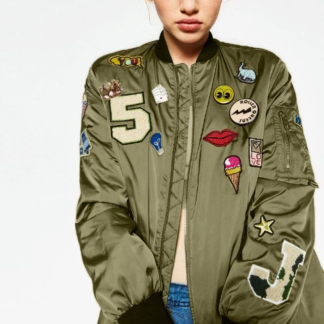 Punk Style Bomber Jacket Women Army Green Embroidered Cartton Letter PatternJacket Fashion Street Coat Casual Outerwear
