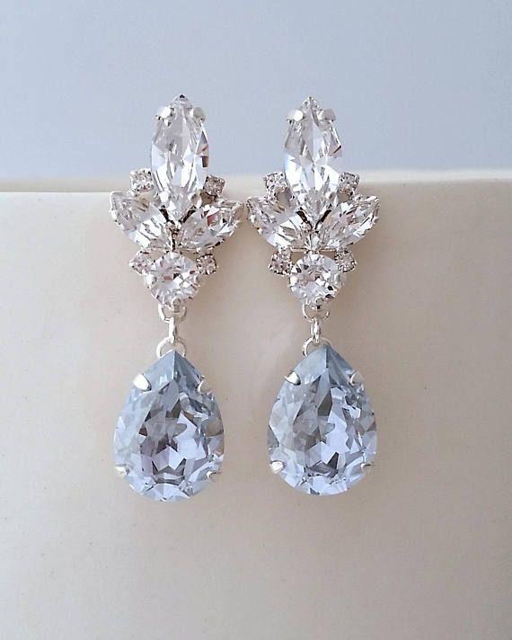 Dusty Blue Earrings Wedding Light Bridal Bright Chandelier