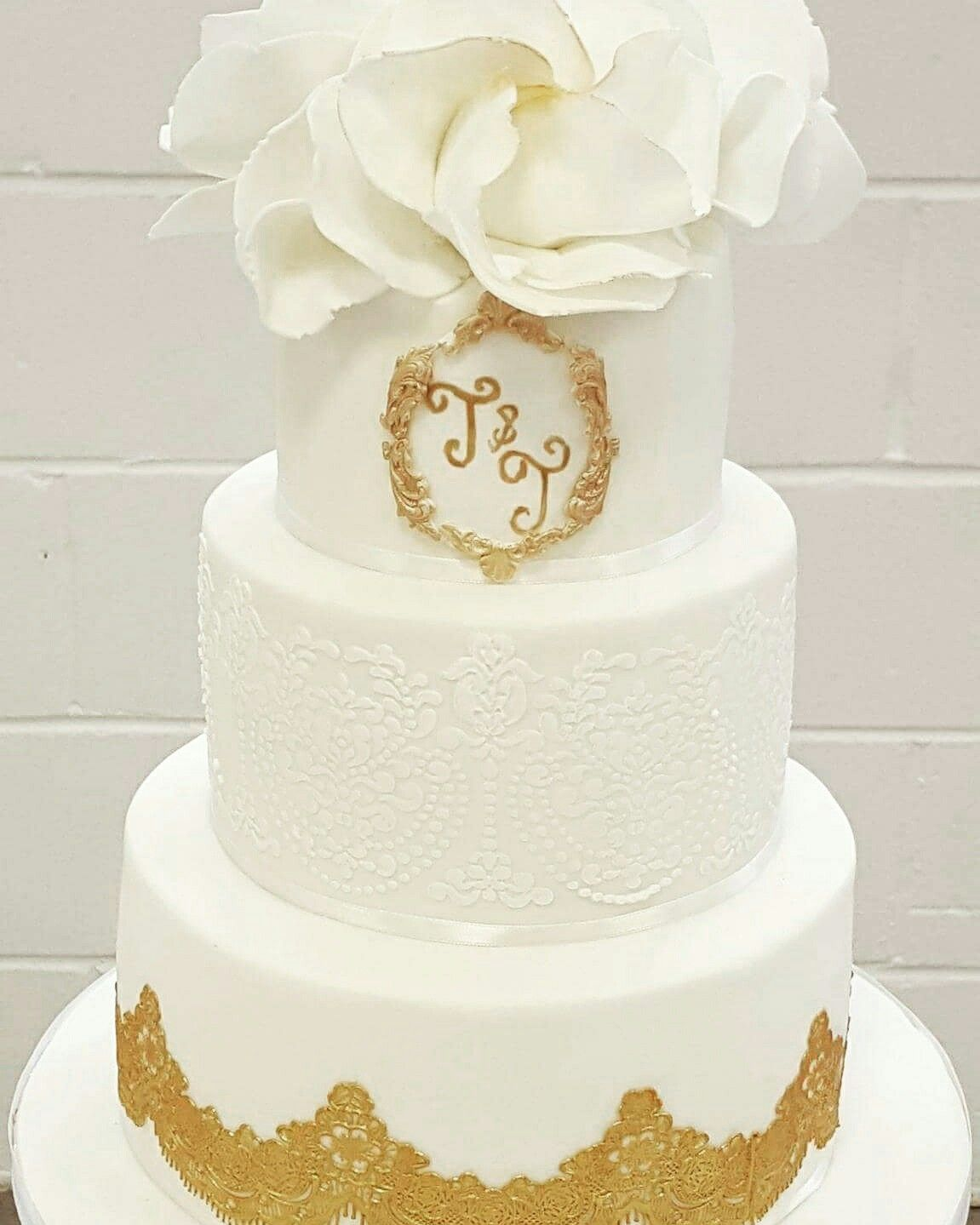White And Gold Wedding Cake With Cake Lace And Roses Peonies - Cheltenham Wedding Cakes