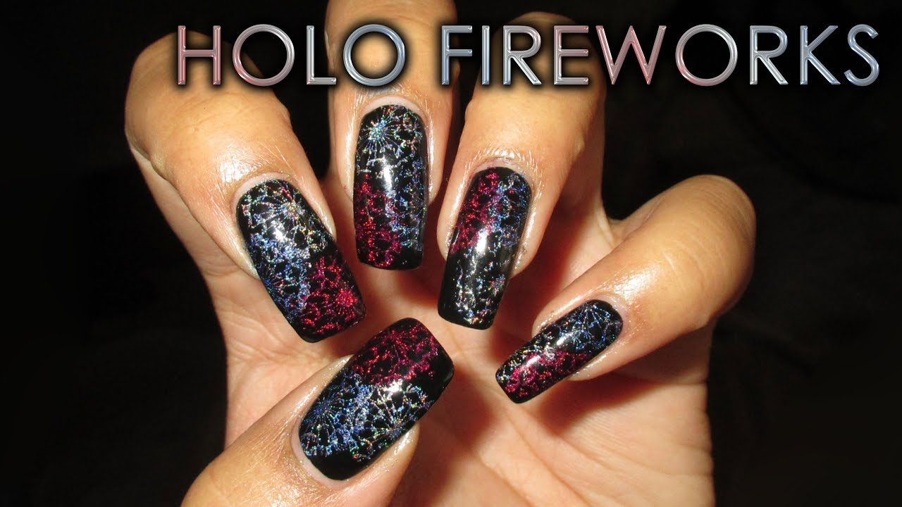 Holo stamped fireworks diy nail art tutorial youtube nail art