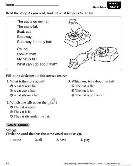 Daily Reading Comprehension Grade 1 With Images Reading