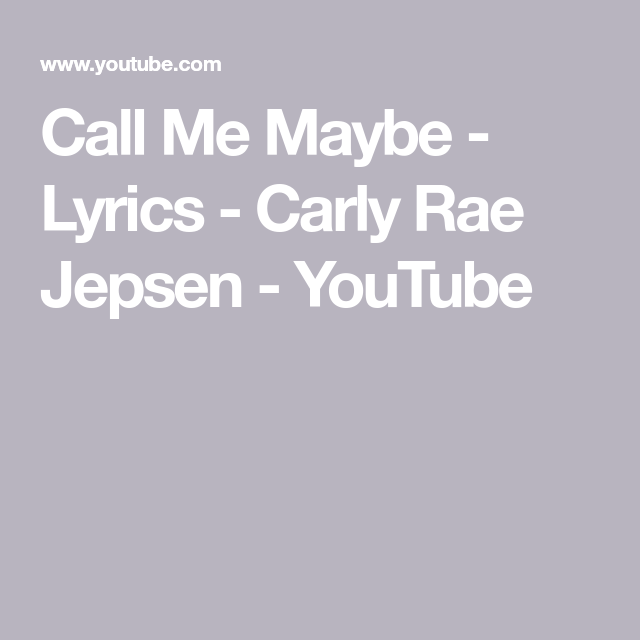call me maybe lyrics