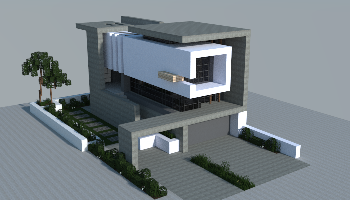 A Modern House That I Made In Minecraft.