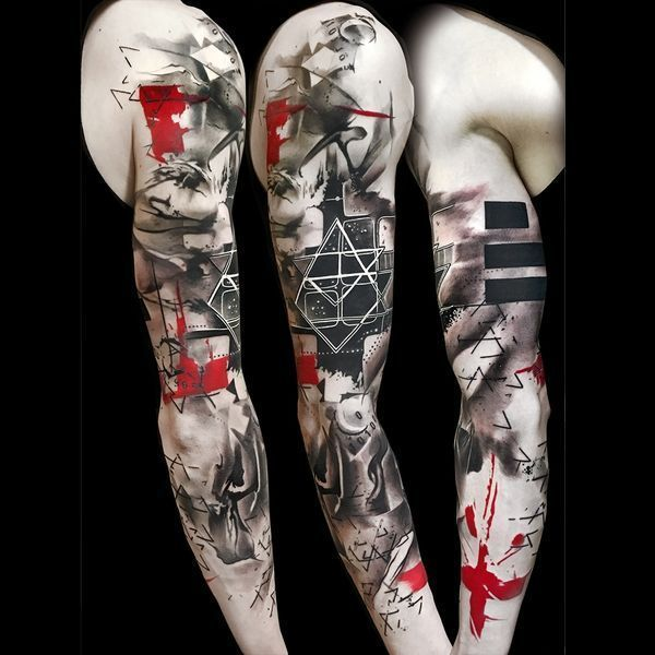 Trash Polka Tattoos Ideas En Colores Negro Y Rojo Colores Ideas