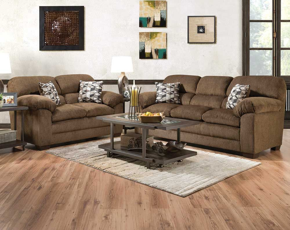Teano Chocolate Sofa Loveseat American Freight Brown Sofa Living Room Couch And Loveseat Brown Living Room Decor