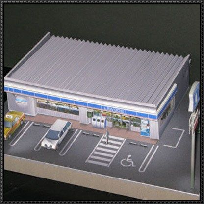 New Paper Craft] Simple Convenience Store For Diorama Free