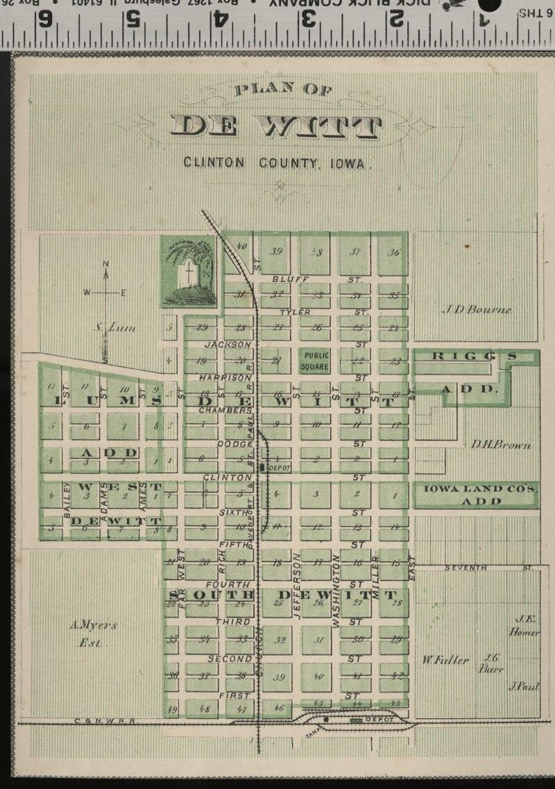 De Witt Iowa Street Map Plan Clinton County Authentic 1875
