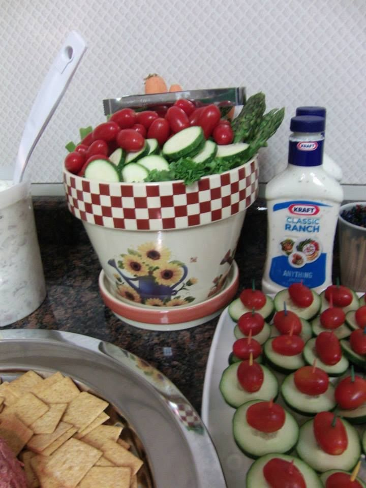 Retirement Garden Theme Party. Used flower pot to serve vegetables ...