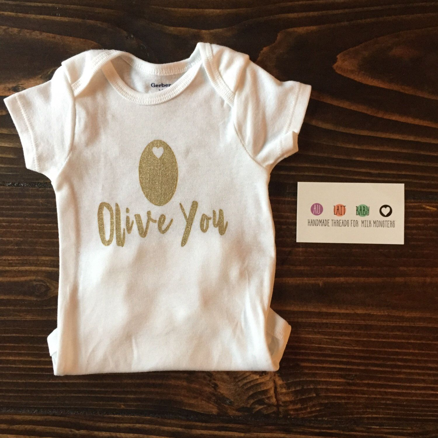 "Baby Girl Clothes ""Olive You"" Baby esie Baby clothes Baby Girl"