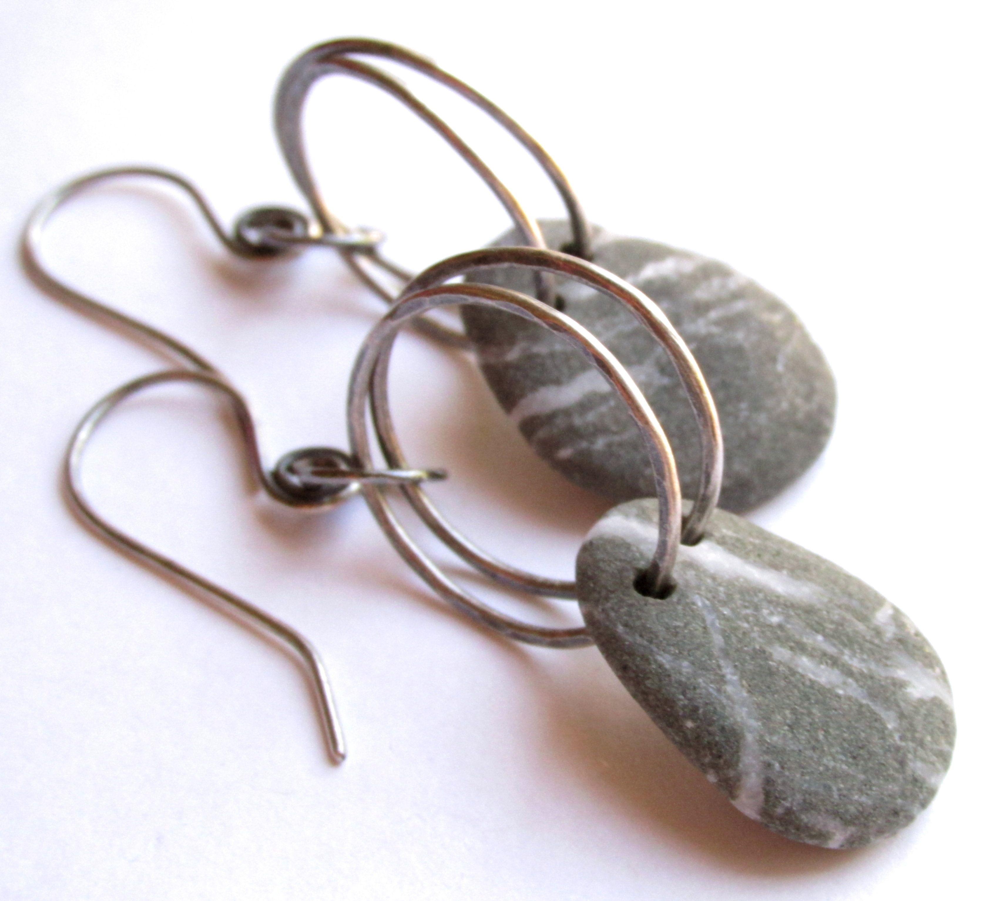 Sterling Silver - Double Hoop - Beach Stone Earrings www.rmddesigns.com #earrings #metalsmith #silversmith #jewelry