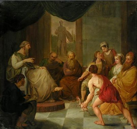 Diogenes Bringing A Plucked Chicken To Plato Greek History