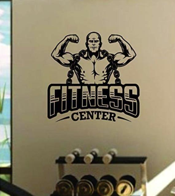 Fitness Center V5 Quote Decal Sticker Wall Vinyl Art Home Room Decor Inspirational Motivational Gym