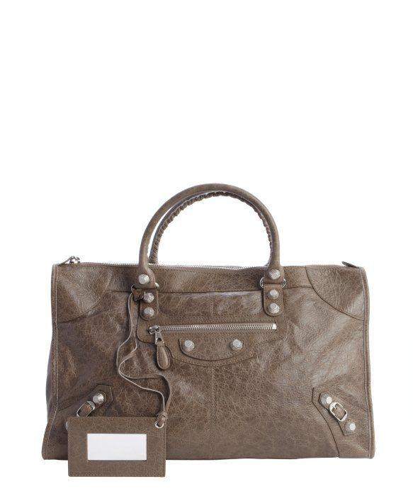 fce855801a Balenciaga : brown and khaki distressed leather 'Giant Work' large top handle  bag [ac]