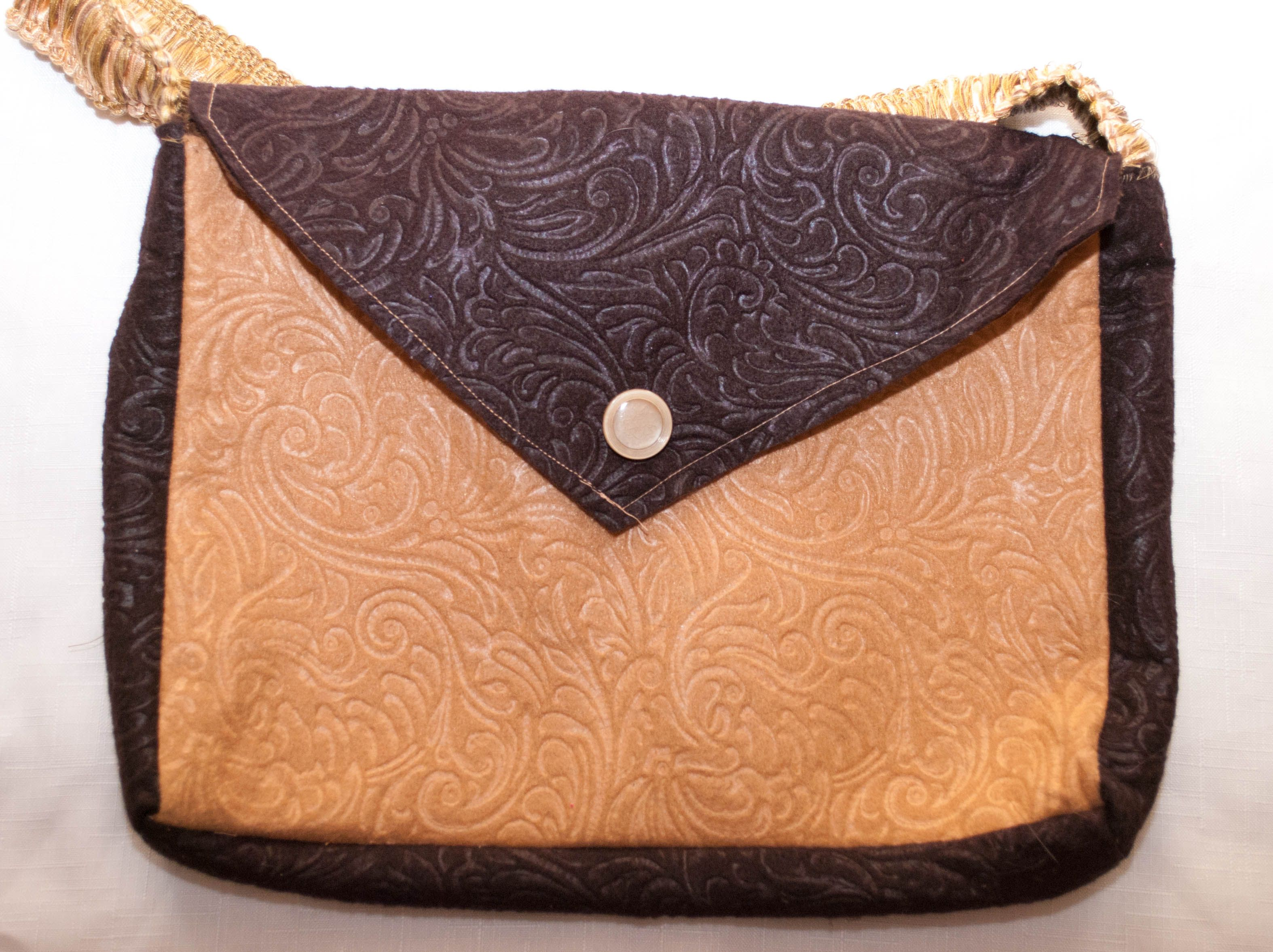 Beige and Brown felt bag - ideal size for iPads  Size 30cm x 24cm  Price £5 inc UK p  All bags are one of a kind  This bag is a sampler and therefore may have slight flaws  susietuesdays@gmail.com