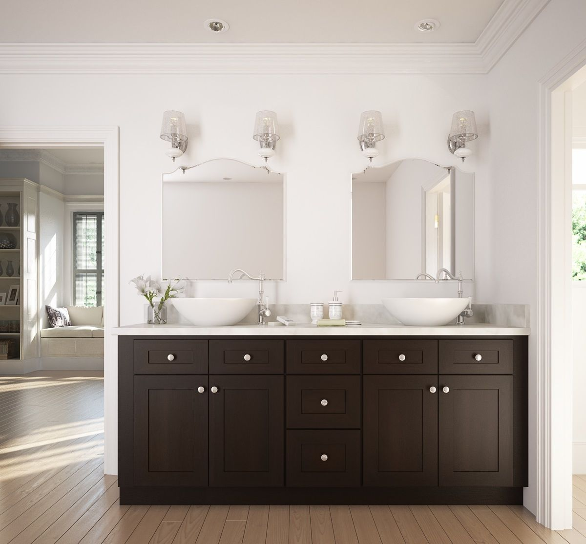 Dark chocolate shaker bathroom vanity rta bathroom - Type of paint for bathroom cabinets ...