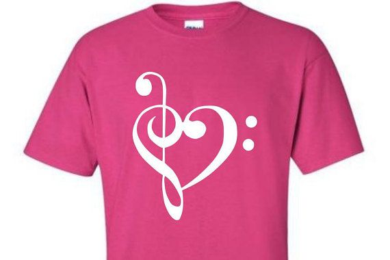 Music Treble & Bass Clef Pink Shirt with by CandyStoreRockGifts