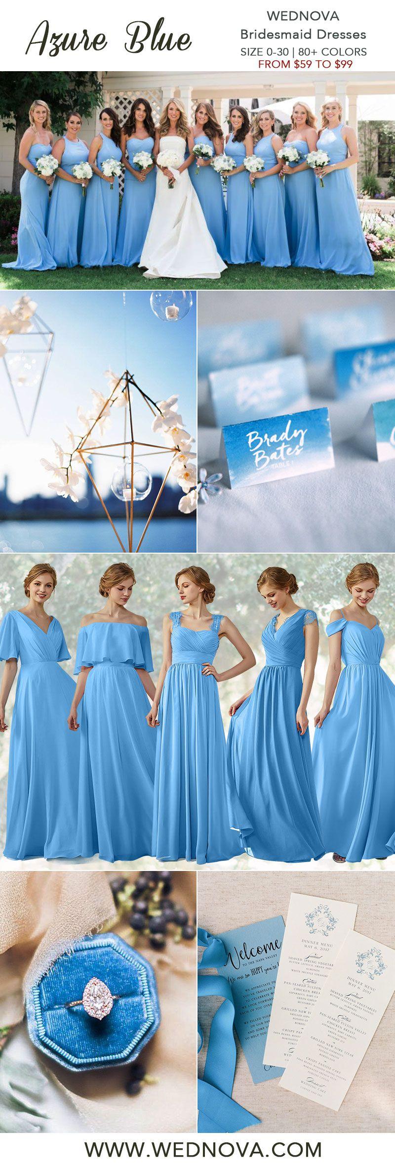 Beautiful Azure Blue Bridesmaid Dress Straps Dress High Quality All Size Cheap On Sale 201 Ocean Blue Weddings Blue Wedding Decorations Blue Bridesmaid Dresses